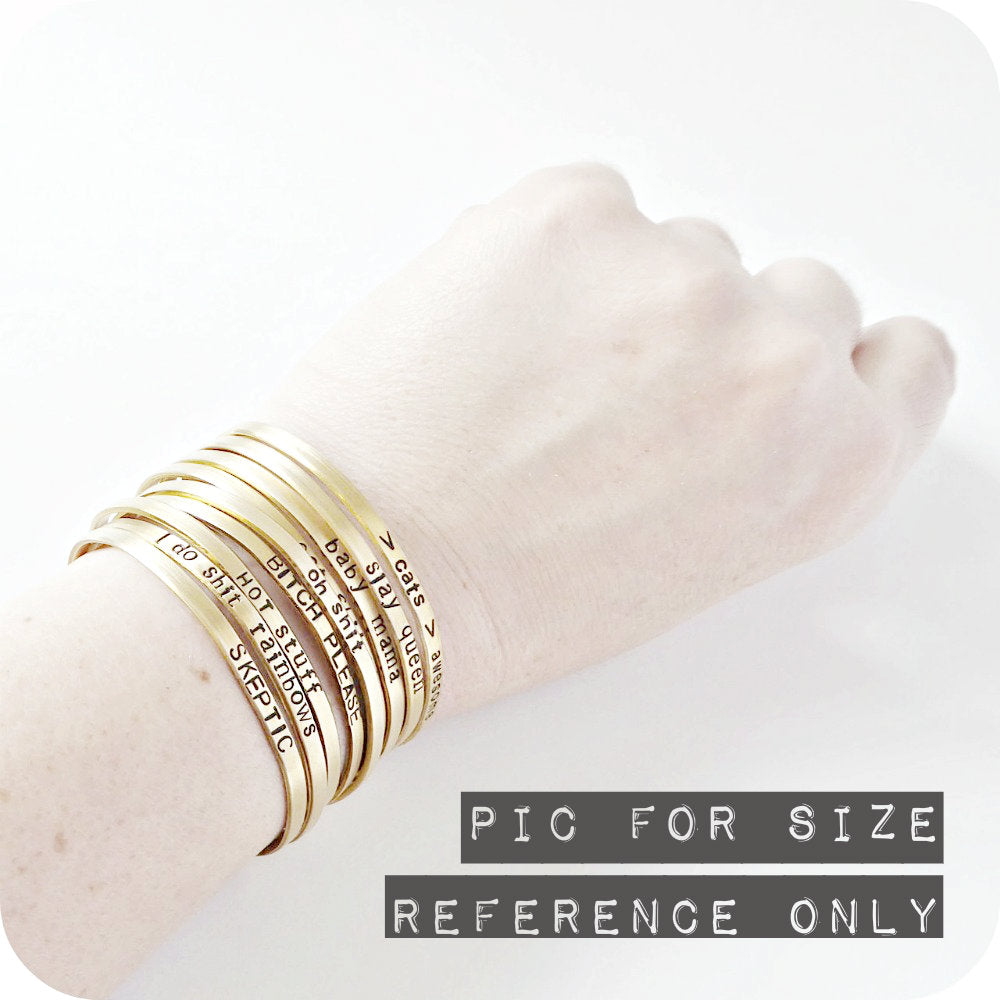 Skinny Brass Cuff Bracelet Collection Funny Statement Jewelry