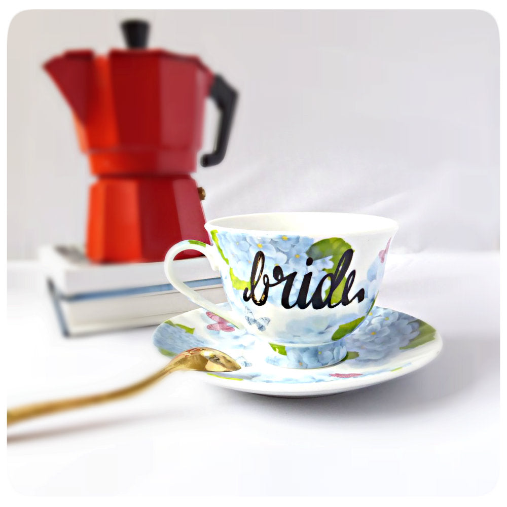 Unique Bride Tea Cup Saucer Coffee Hand Painted Lettered