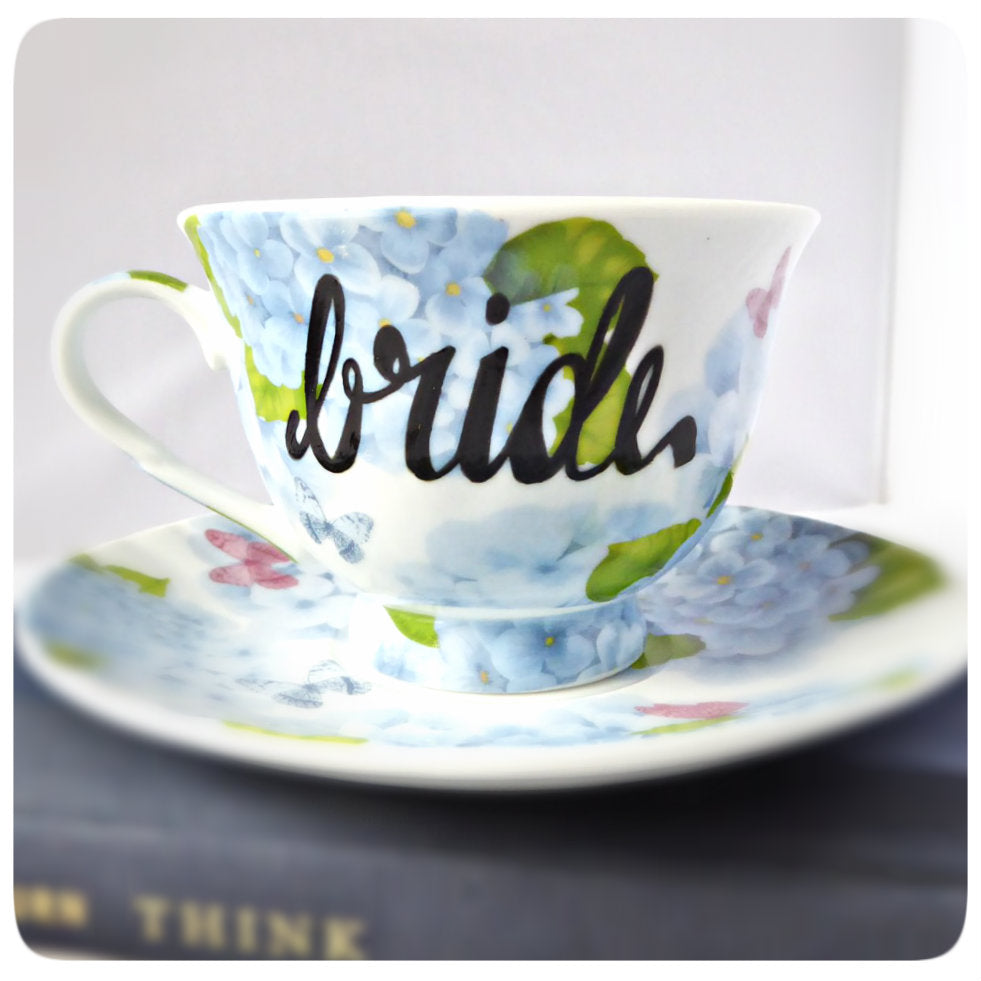 Bride Coffee Cup and Saucer Gift Floral Flower Hydrangea Pink Blue