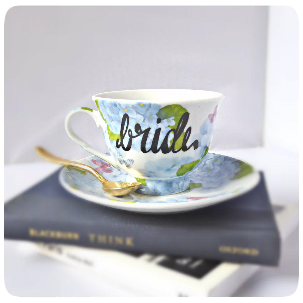 Bride Tea Cup and Saucer Coffee Cup Bridal Wedding Marriage
