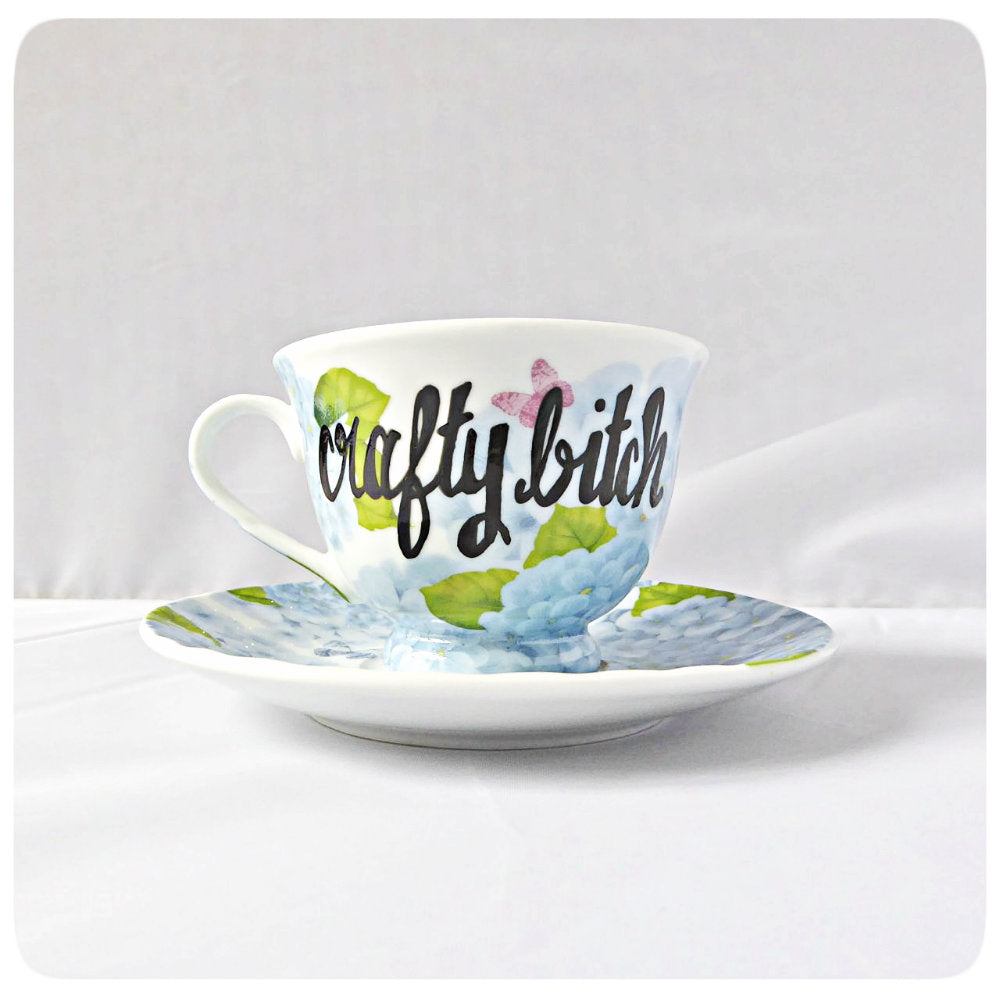 Funny Best Friend Gift Tea Cup Saucer Crafty Bitch
