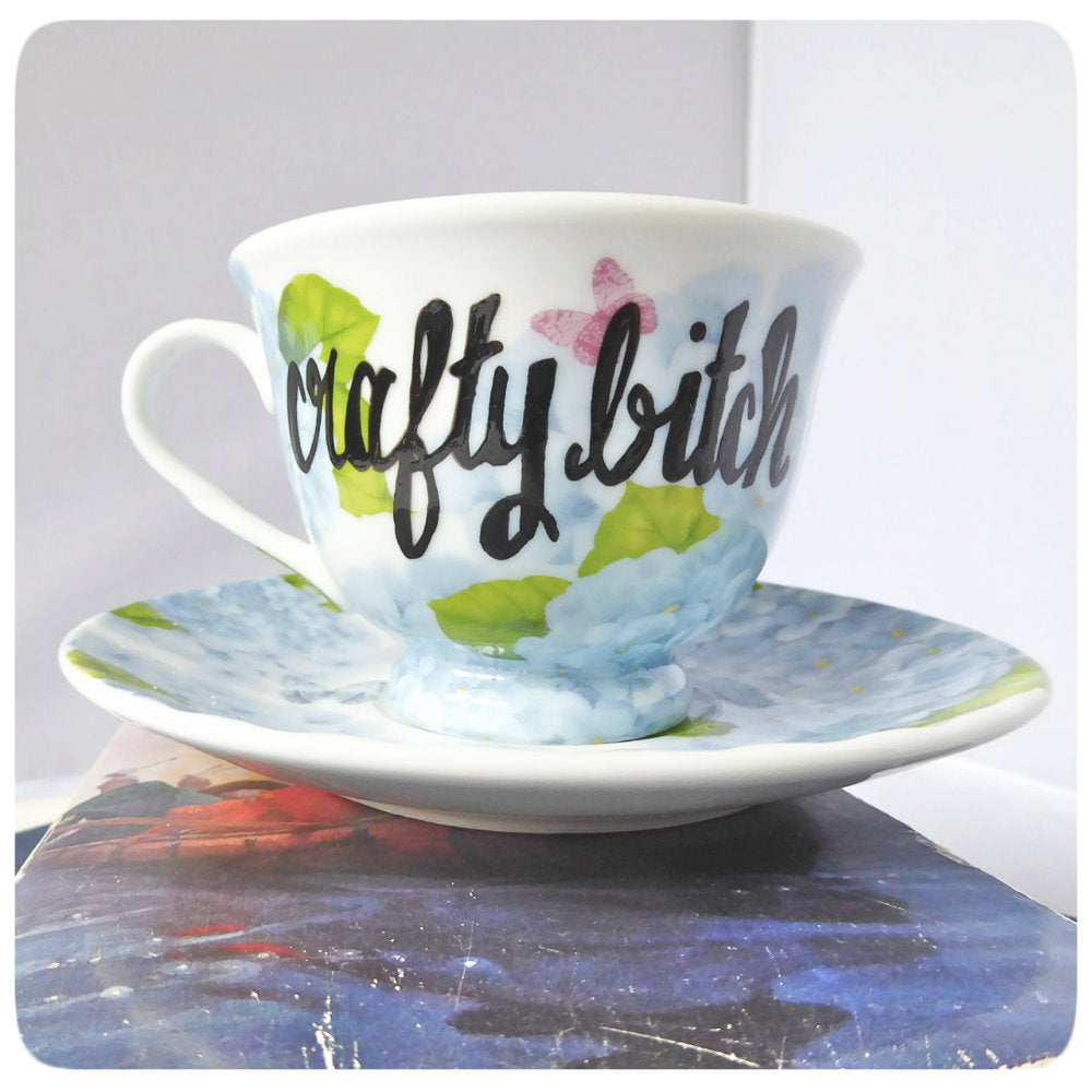 Crafty Bitch Funny Tea Cup and Saucer Naughty Blue Floral