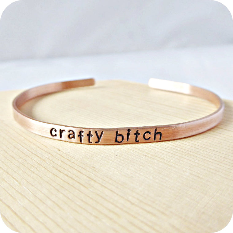 Crafty Bitch Skinny Cuff Bracelet for Layering Minimalist