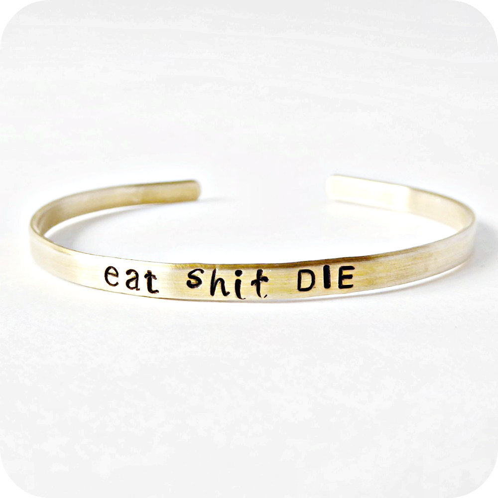 Skinny Brass Cuff Bracelet Swear Words Profanity Curse Words