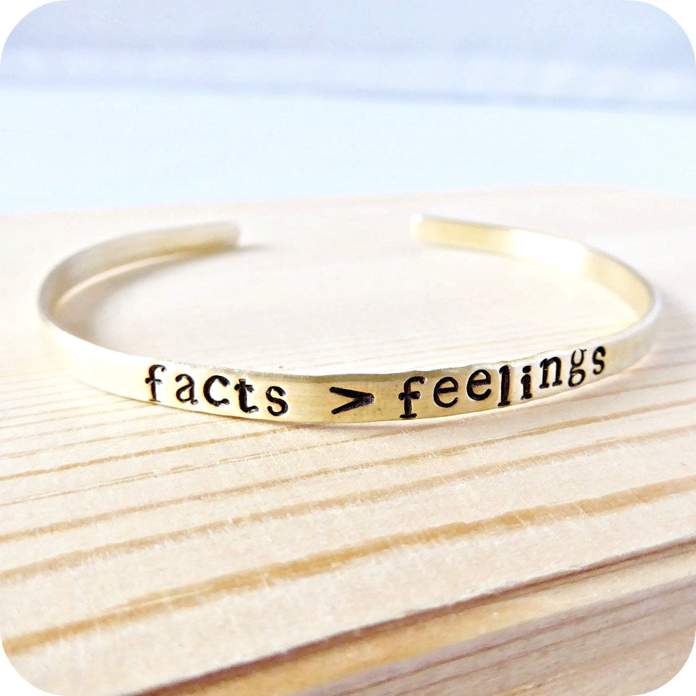 Facts Feelings Hand Stamped Funny Jewelry Philosopher Gift