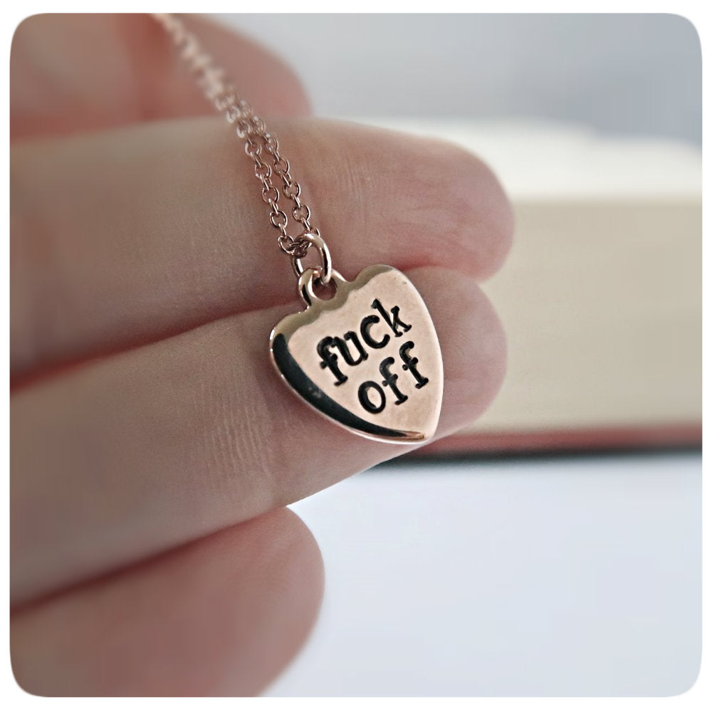Fuck Off Funny Best Friend Gift for Women Rose Gold Dainty Necklace