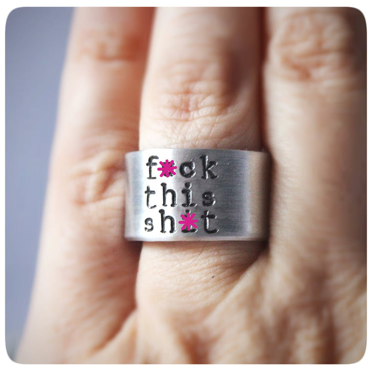 Funny Swear Words Jewelry Wide Cuff Ring band