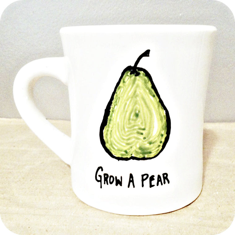 Grow a Pear Funny Coffee Mug Vegetarian Gardener Gift