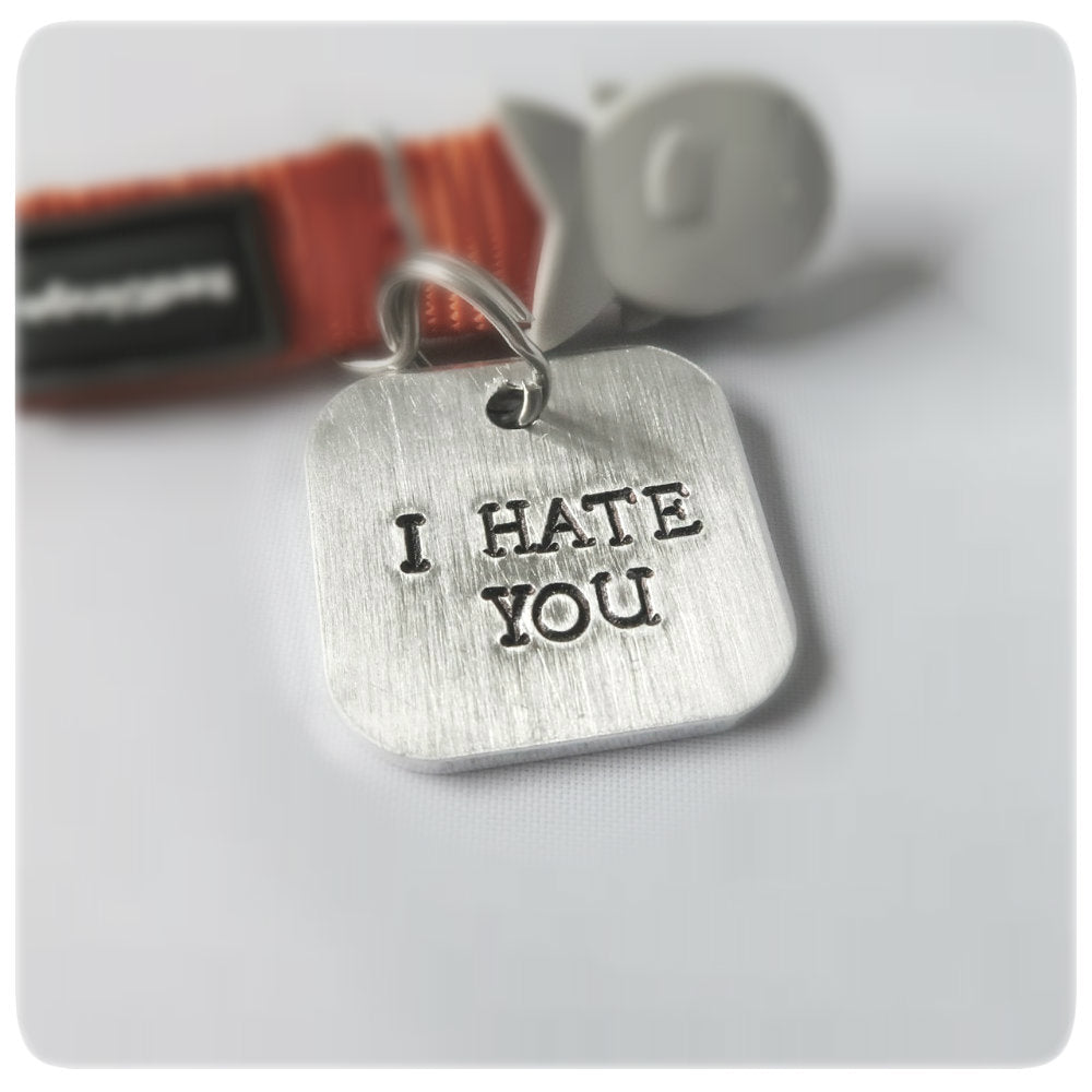 I Hate You Cat Id Tag Personalized