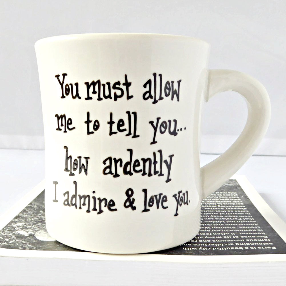 Pride and Prejudice Darcy Quote Hand Painted Mug