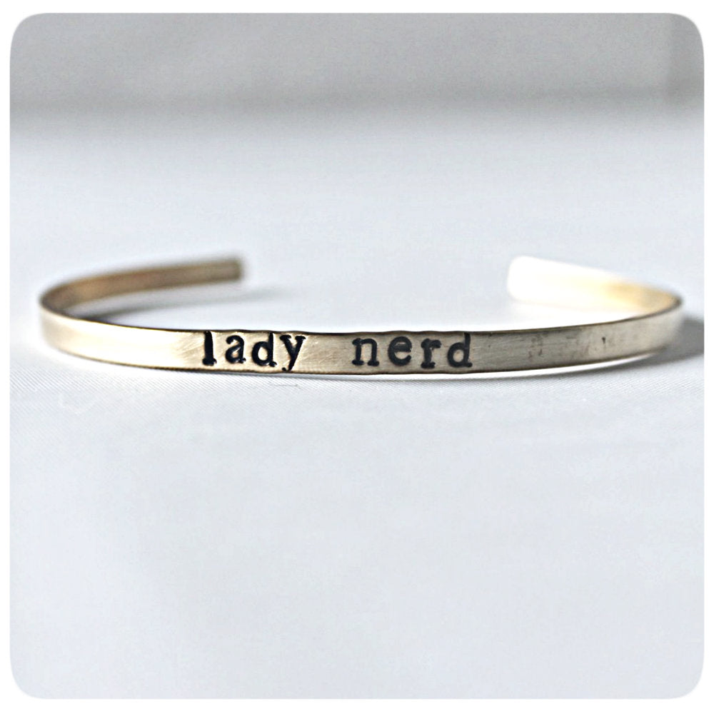 Funny Statement Jewelry Skinny Cuff Bracelets for Layering Nerd