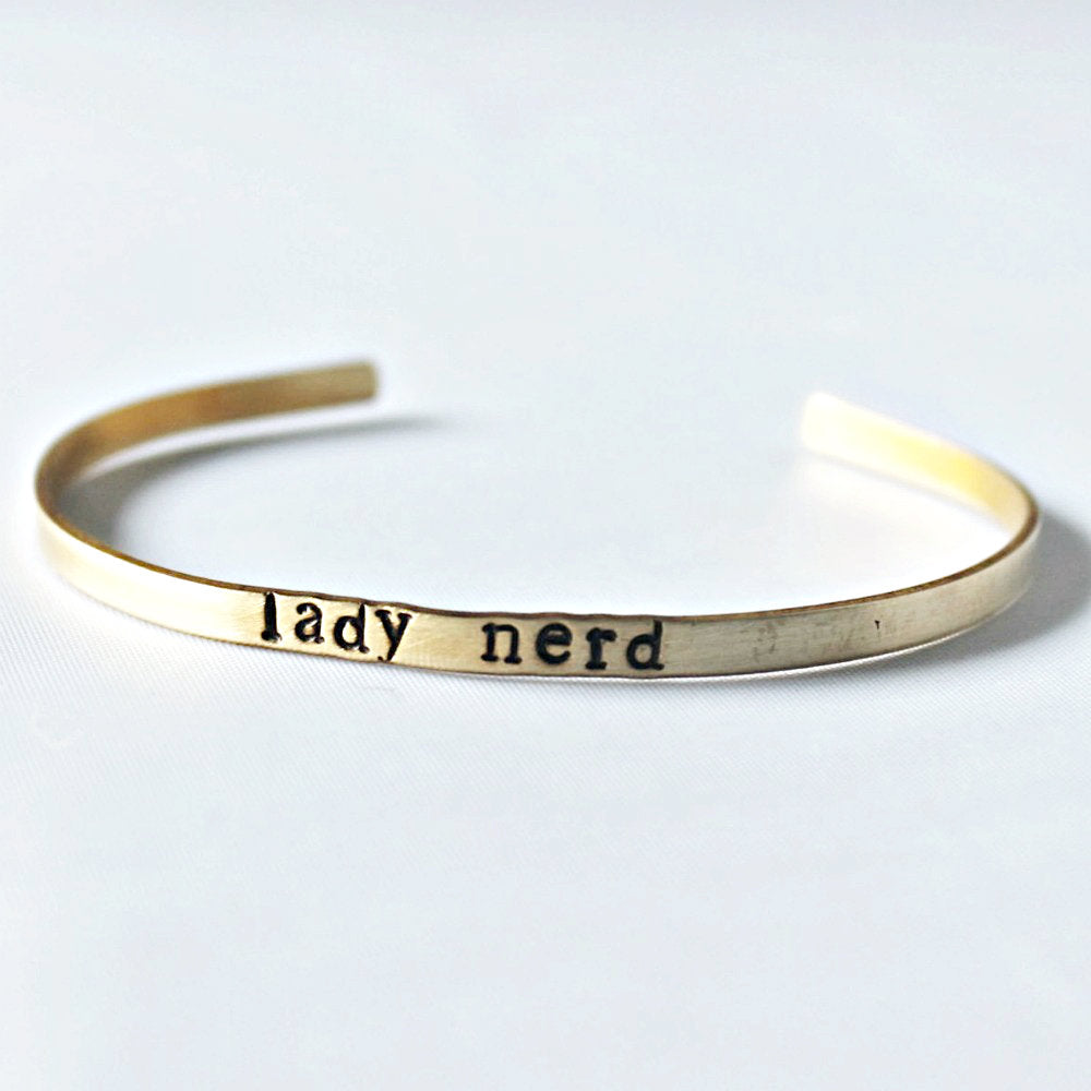 Girl Geek Gift Skinny Bracelet for Layering Brass Cuff Nerd Geeky