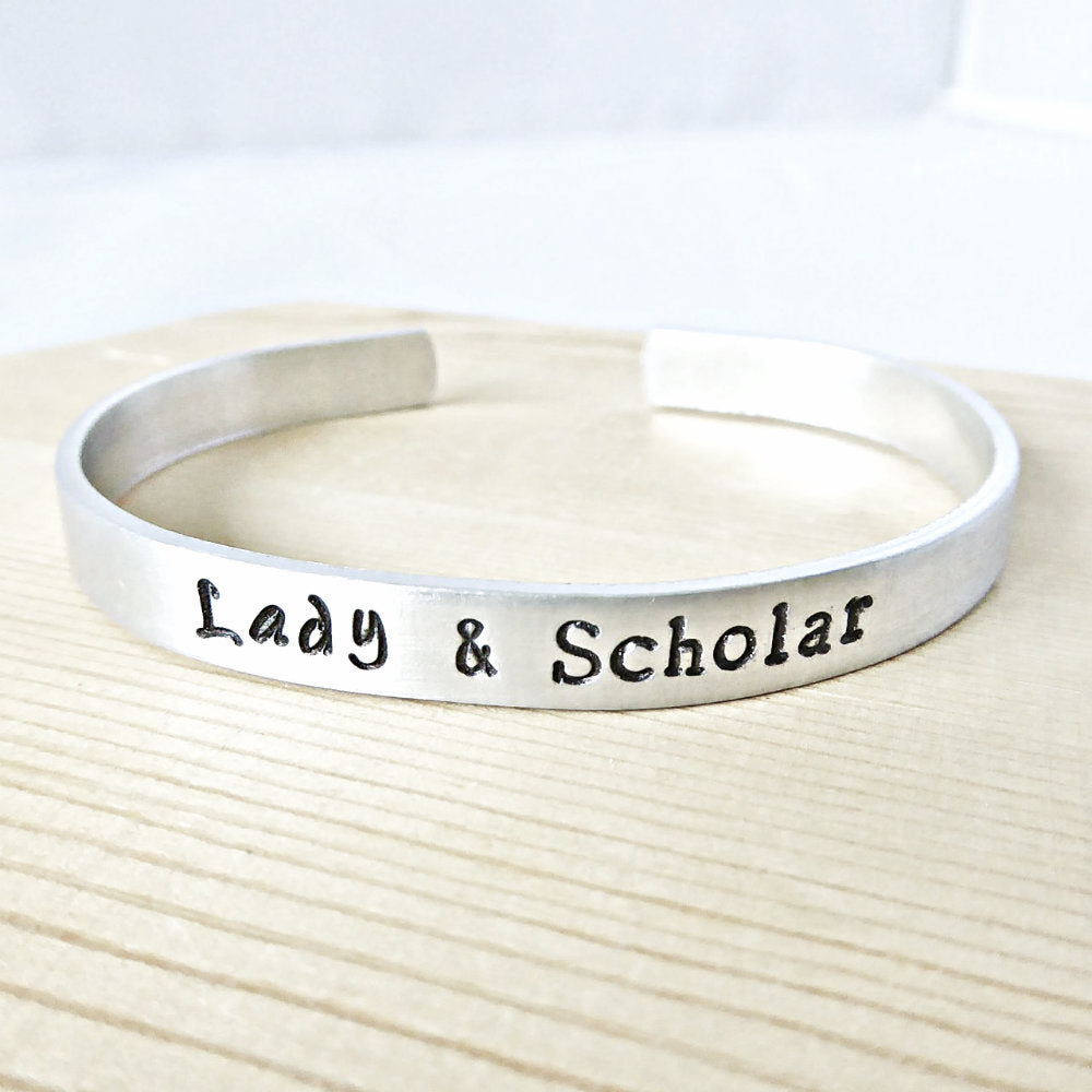 Lady and Scholar Skinny Silver Cuff Bracelet Gift for Her
