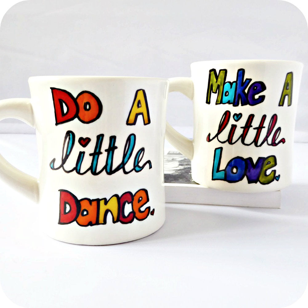 Make Love Dance His Hers Rainbow Coffee Mug Set