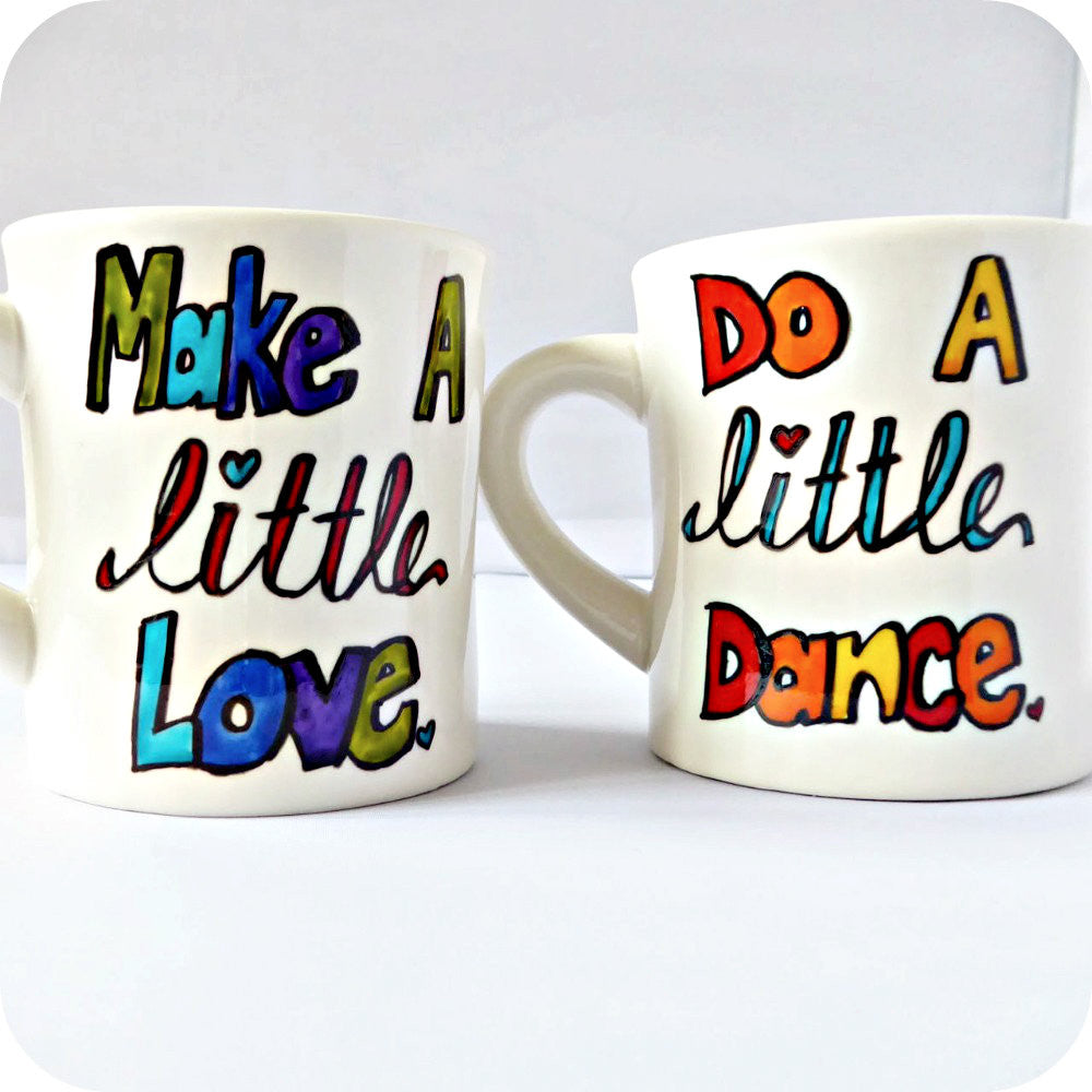 Hand Painted Couples Coffee Mug Set