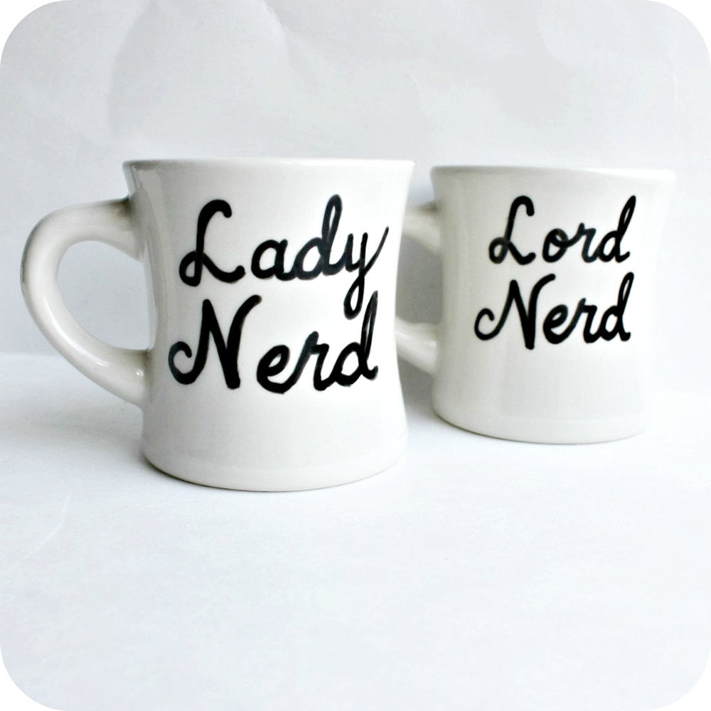 Hand Painted Nerd His Hers Coffee Tea Mug Set