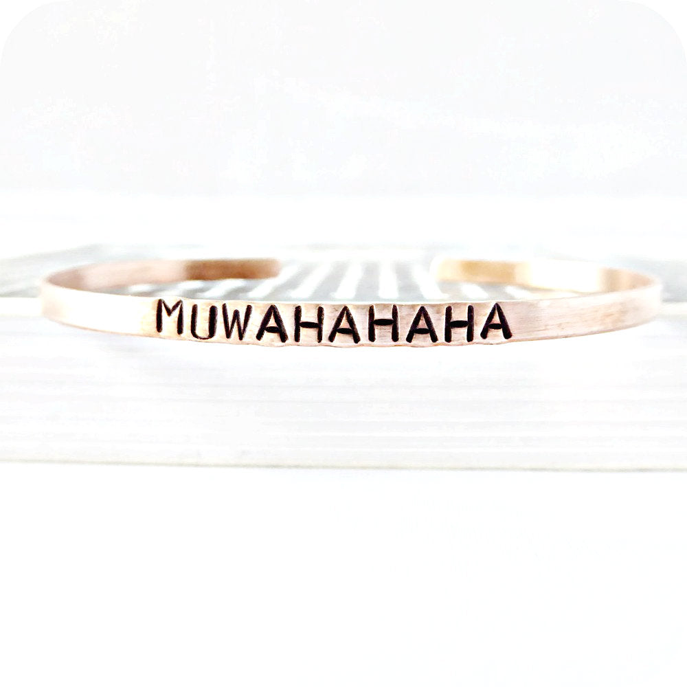 Evil Laugh Skinny Copper Cuff Bracelet