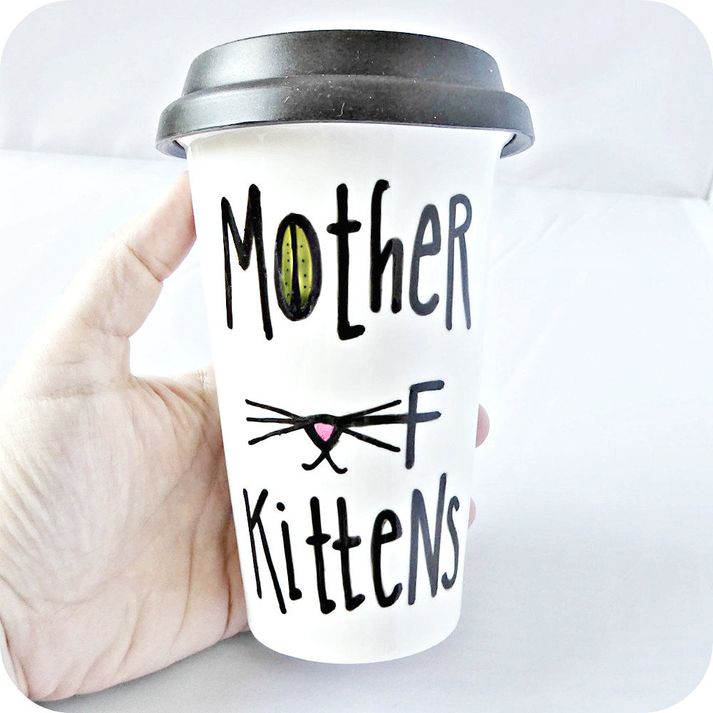 Funny Travel Mug With Lid Mother of Dragons Kittens Cat Game of Thrones