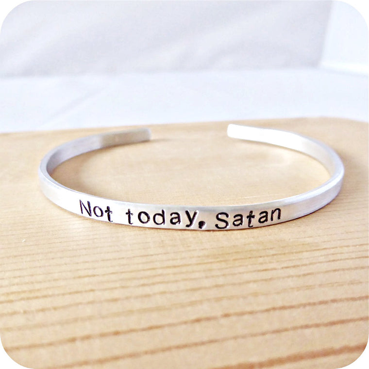 Not Today Satan Rupauls Drag Race Skinny Cuff Bracelet for Layering