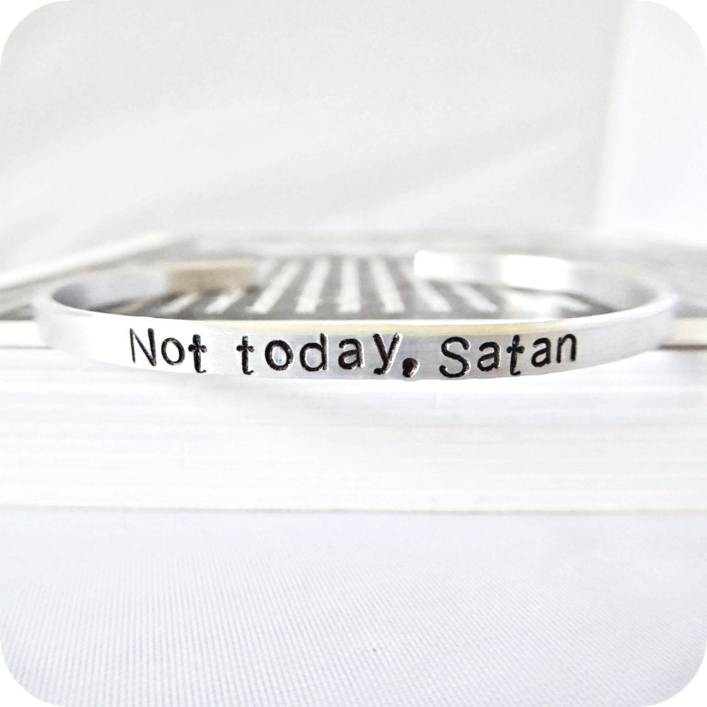Not today satan funny statement jewelry skinny cuff bracelet