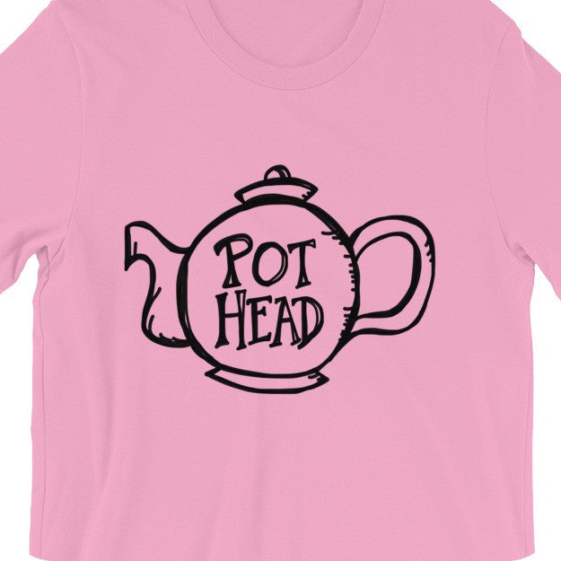Funny Gift for Tea Lovers Pot Head Unisex Tee Shirt Pink