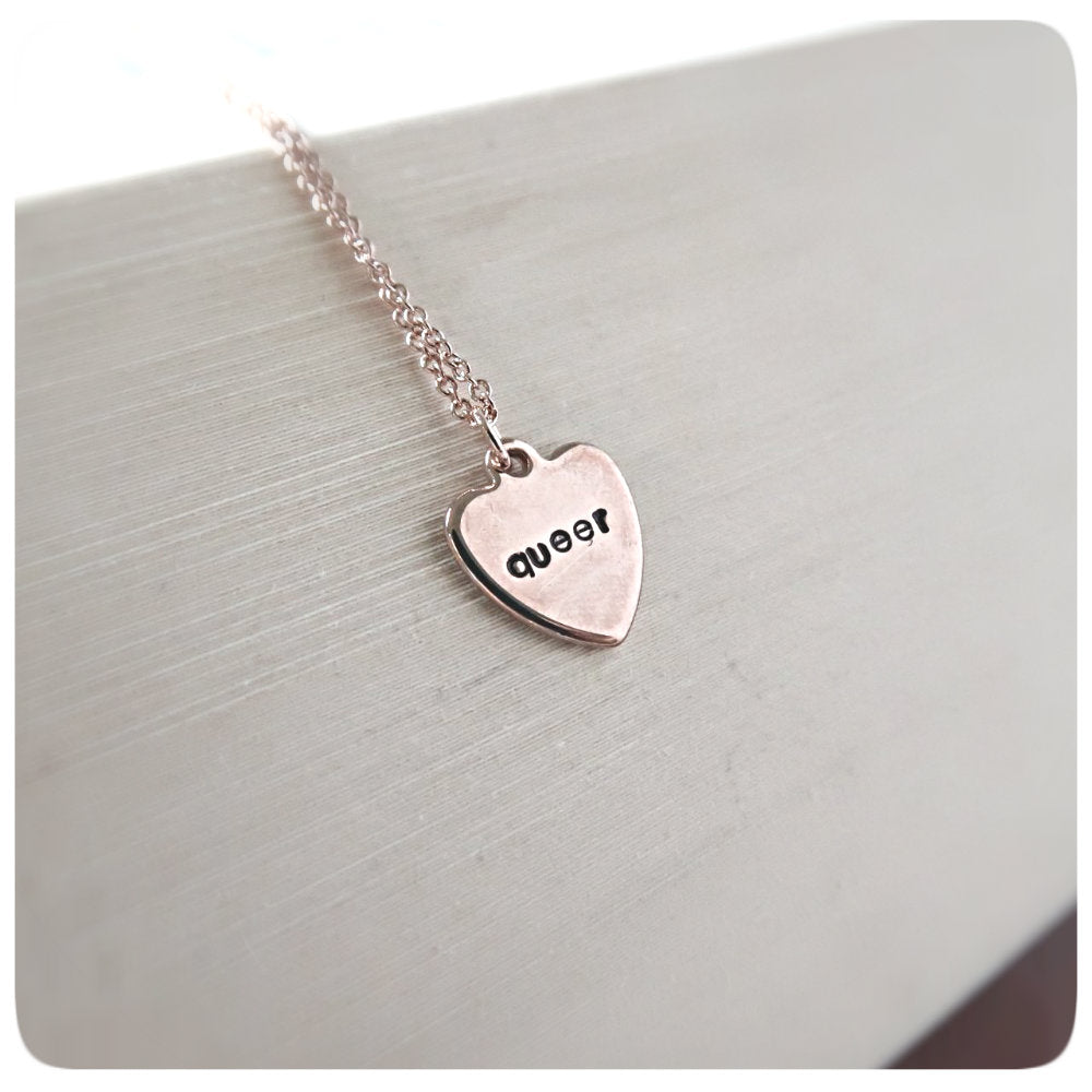 Rose Gold Dainty Minimalist Necklace for Layering Queer LGBT pride