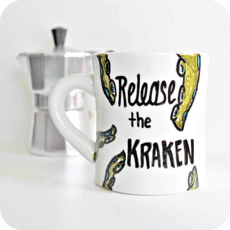 Release the Kraken Hand Painted Retro Diner Mug
