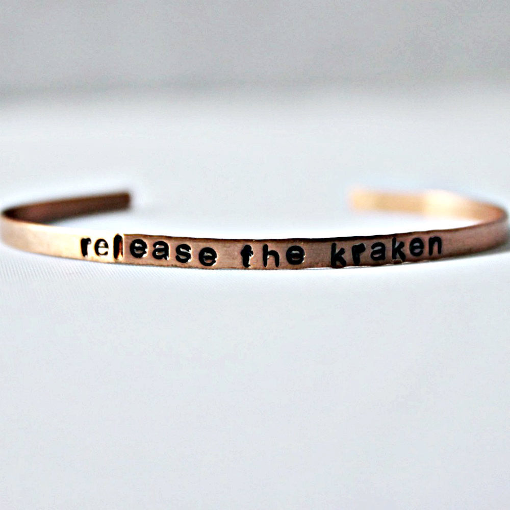 Hand Stamped Copper Cuff Bracelet Release the Kraken