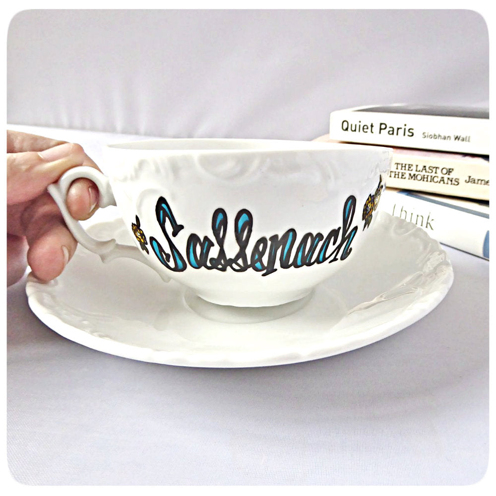 Sassenach Tea Cup and Saucer Hand Painted