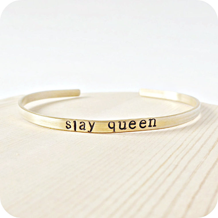 Motivational Inspirational Funny Hand Stamped Brass Bracelet