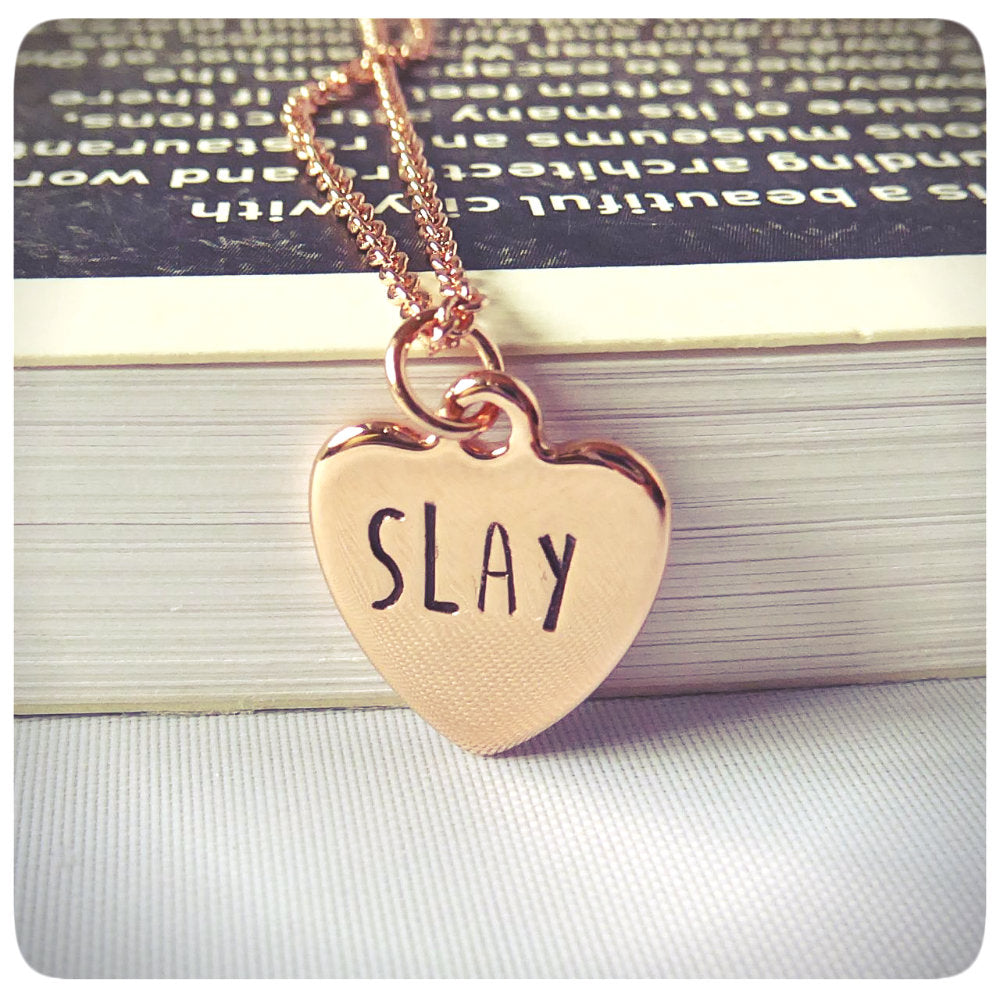 Slay Funny Statement Jewelry Sarcasm Snarky Rose Gold Necklace