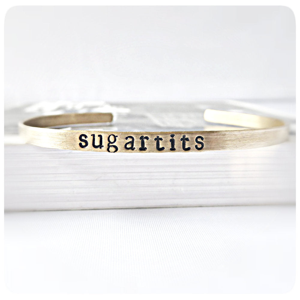 Sugartits Skinny Brass Cuff Funny Statement Jewelry Bracelet