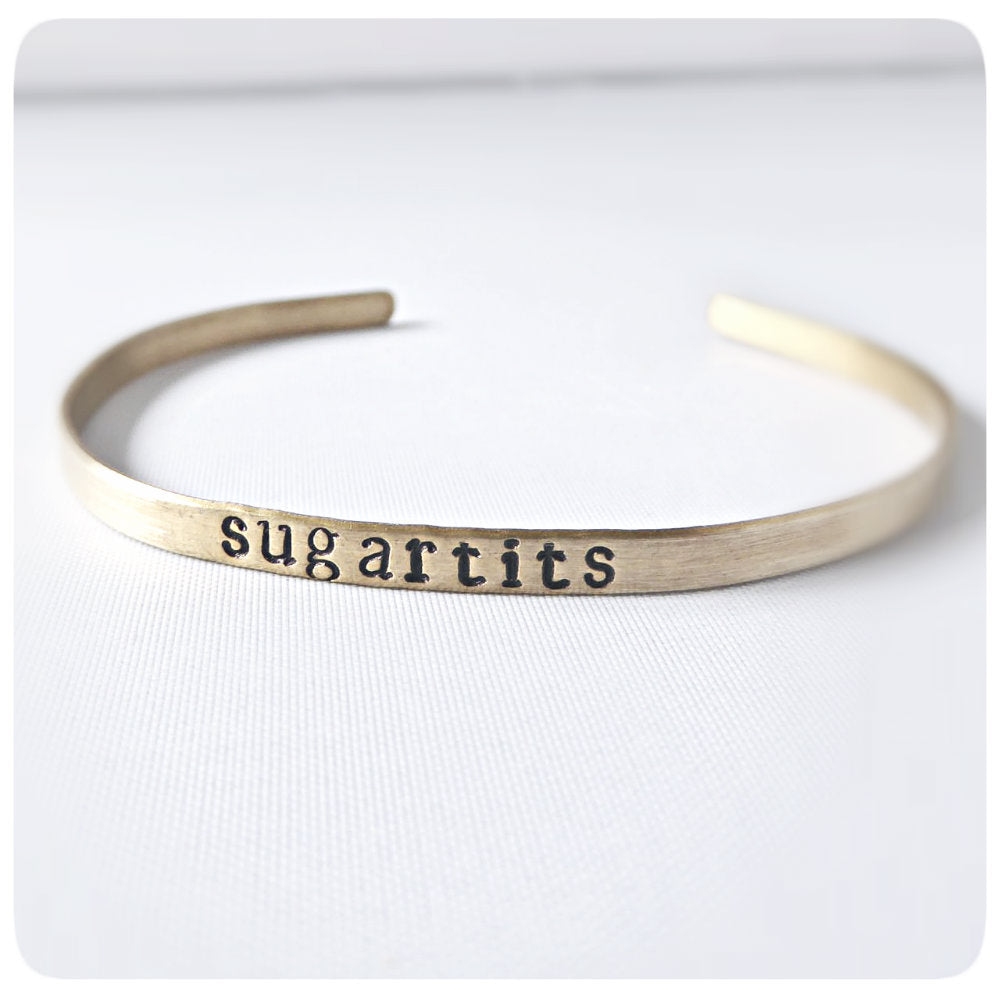 Sugartits Skinny Brass Cuff Bracelet Funny Statement Jewelry