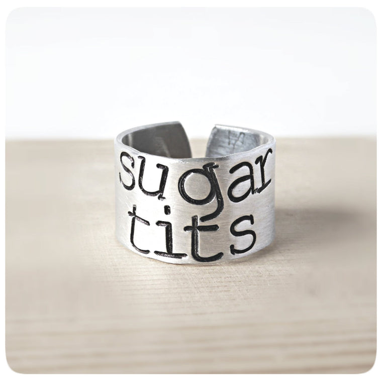 Sugartits Funny Best Friend Jewelry Wide Cuff Ring Band