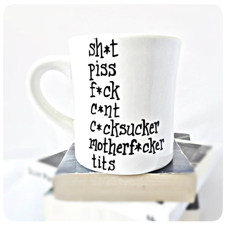 Swear Words Mug Funny Diner Mug Ceramic Profanity Curse Words