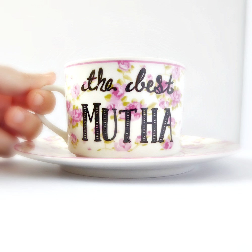 Limited Edition- Best Mutha Hand Painted Vintage Tea Cup and Saucer