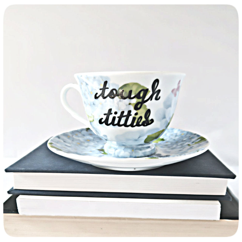 Bachelorette Tea Party Funny Mug and Saucer Tough Titties