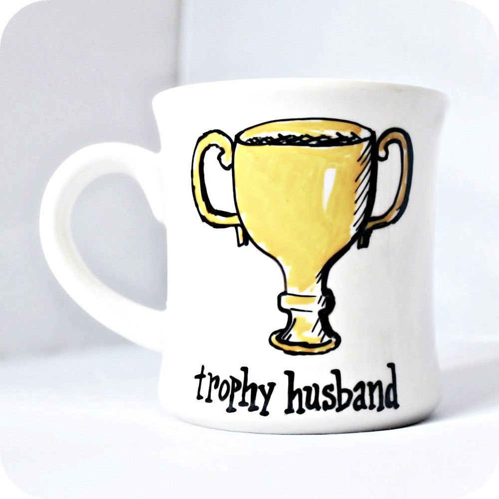 Trophy Husband Funny Hand Painted Retro Diner Mug