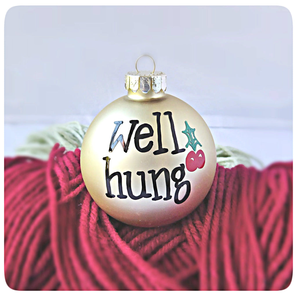 Well Hung Funny Holiday Ornament Christmas Tree