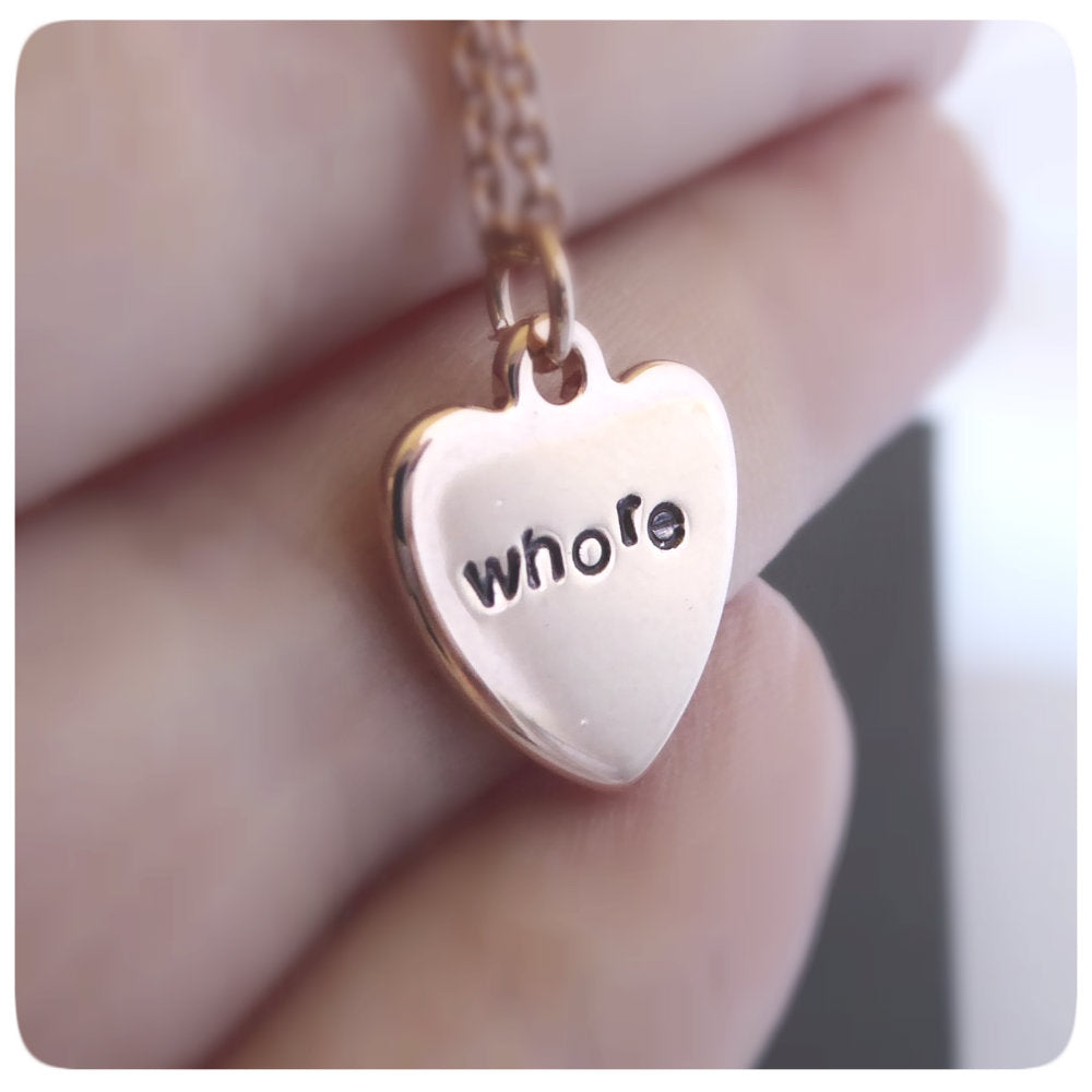 Whore Rose Gold Dainty Minimalist Necklace for Layering