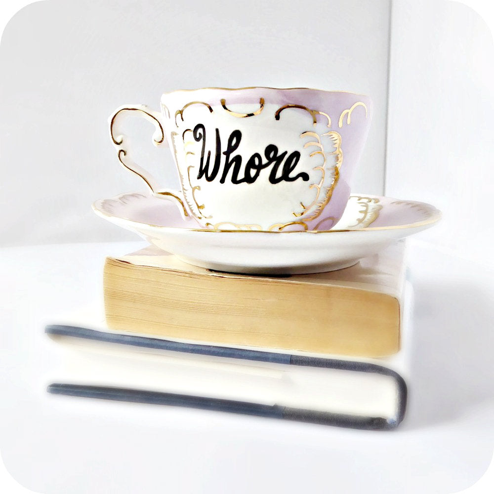 Whore Naughty Tea Cup and Saucer Pink Gold