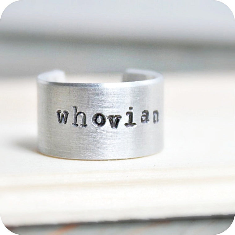 Whovian Brushed Aluminum Ring Band