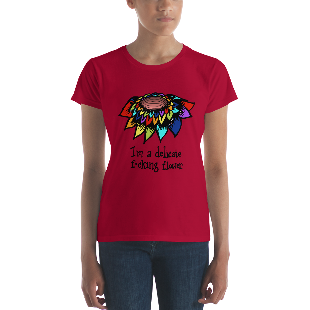 Funny Ladies T Shirt Rude Sarcasm Snarky Rainbow Flower