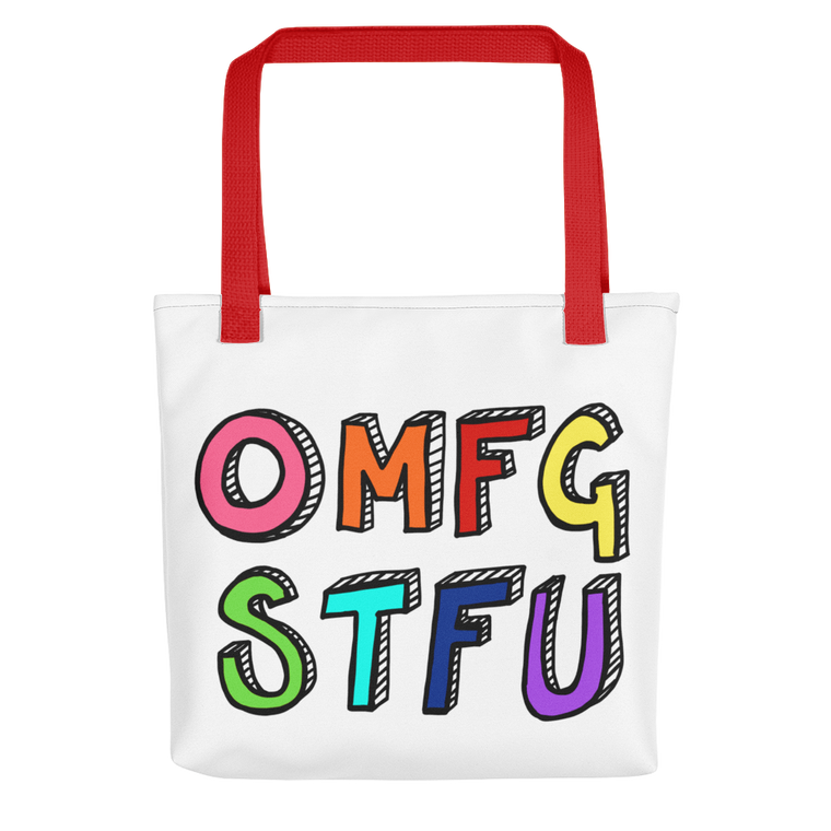 Funny tote bag OMFG STFU swear words Rainbow
