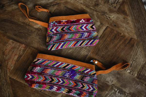 Mayan Huipil wristlet bags -Set 05 Colorful lines