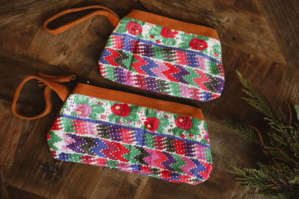 Mayan Huipil wristlet bags -Set 09 Red, Blue, Green