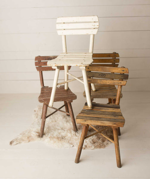 Vintage Slatted Wood chairs