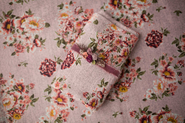 Mauve Floral knit backdrop set