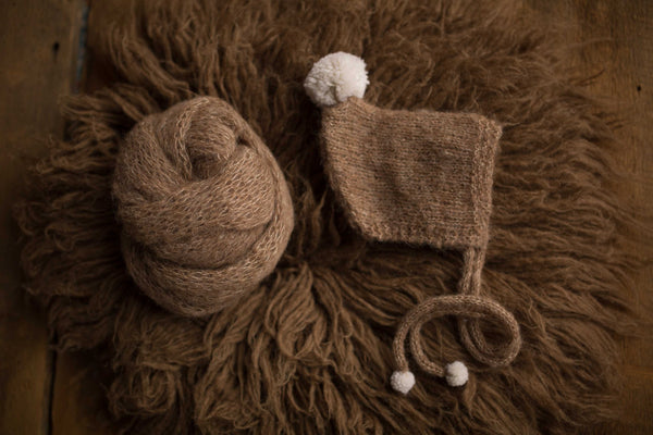 Chocolate Knit Set  (Matches CHOCOLATE flokati)