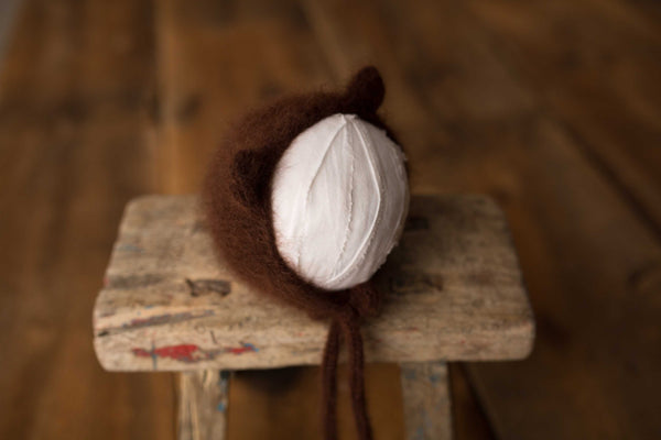 Brown Bear Knit Bonnet
